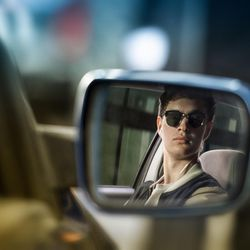 """Baby (Ansel Elgort) on the way to the post office job in """"Baby Driver."""""""