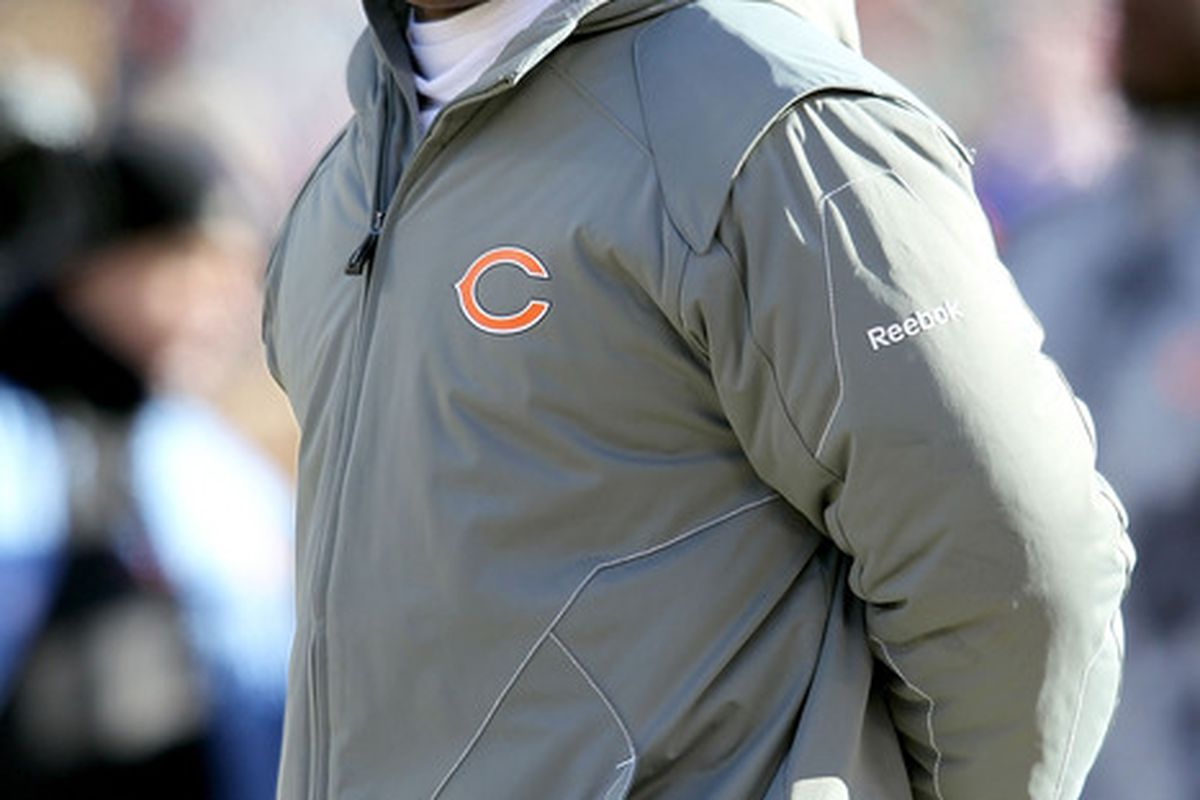 Head coach Lovie Smith of the Chicago Bears looks on before taking on the Green Bay Packers in the NFC Championship Game at Soldier Field in Chicago Illinois.  (Photo by Andy Lyons/Getty Images)