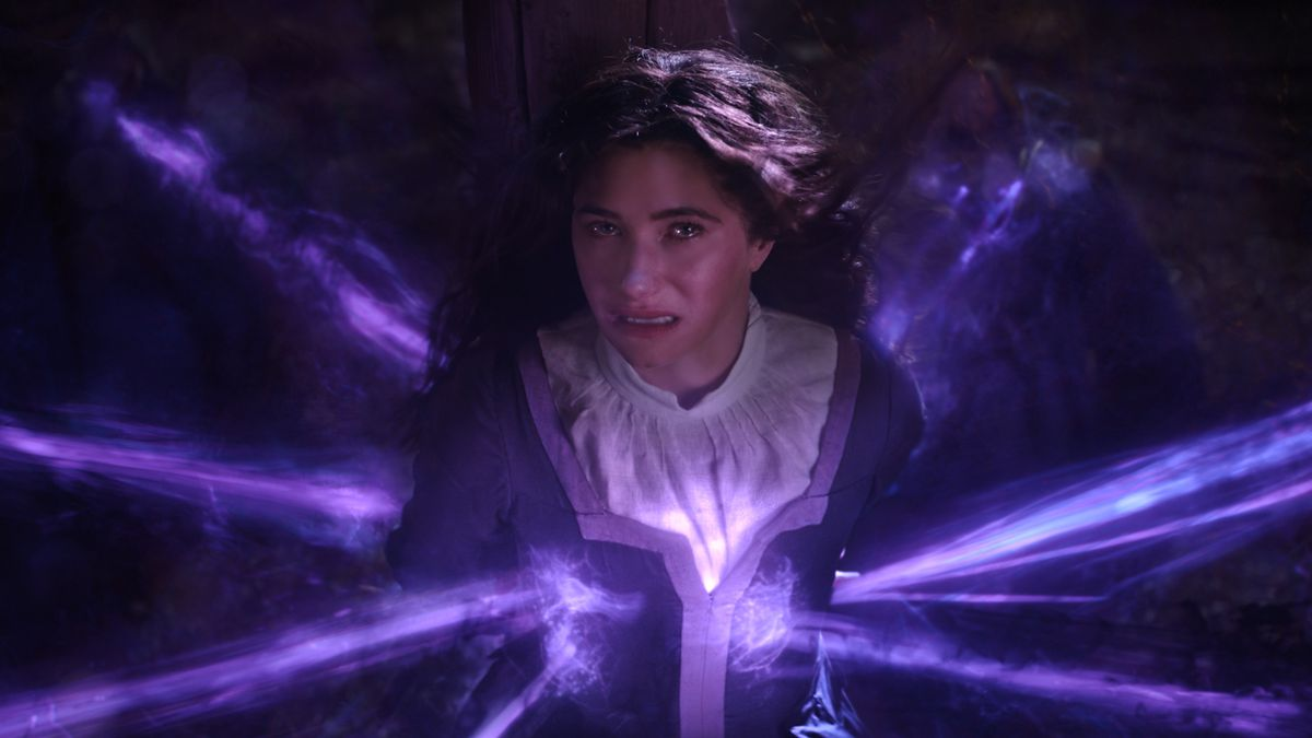 Agatha Harkness, bound at the stake and absorbing a coven's worth of magic in WandaVision