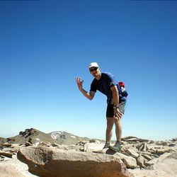 Craig A. Lloyd stands at South Kings Peak after running from Henry's Fork parking lot to Utah's three tallest summits, plus another peak.