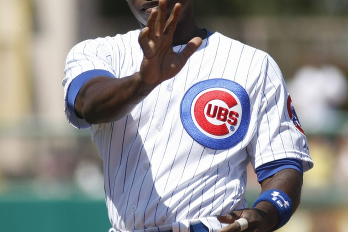 Mesa, AZ, USA; Chicago Cubs left fielder Alfonso Soriano reacts after popping out in the first inning against the Los Angeles Dodgers at HoHoKam Stadium. Credit: Rick Scuteri-US PRESSWIRE