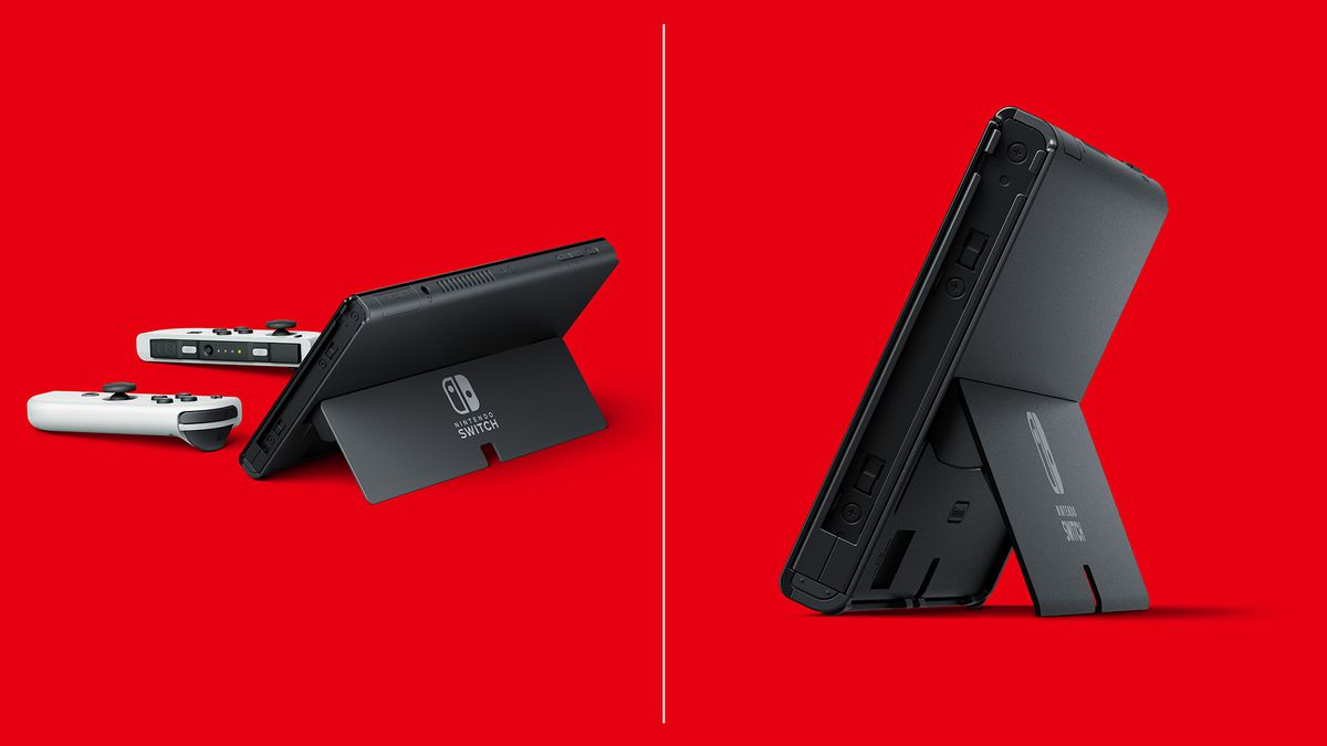 The new Nintendo Switch (OLED model) stand, showing adjustable angles