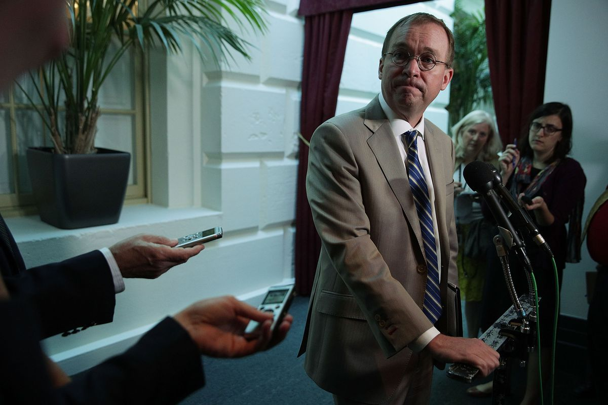 Mnuchin And Mulvaney Attend GOP Conference To Support Trump Harvey Aid Plan