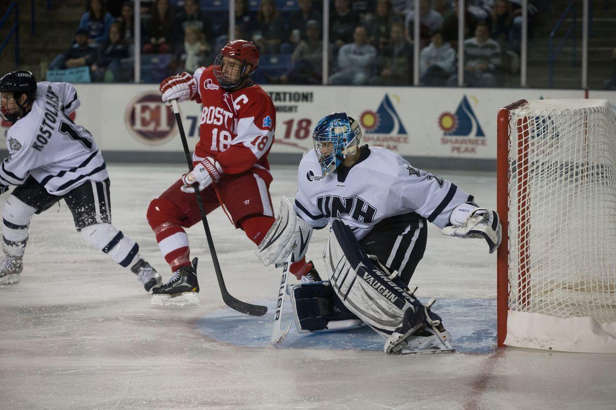 UNH sophomore goaltender Casey DeSmith has made 24 saves through two periods.