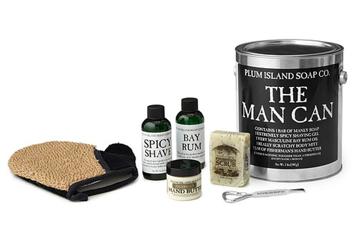 """""""The Man Can"""" from <a href=""""http://www.uncommongoods.com/product/the-man-can-grooming-kit"""">Plum Island Soap Co.</a>"""