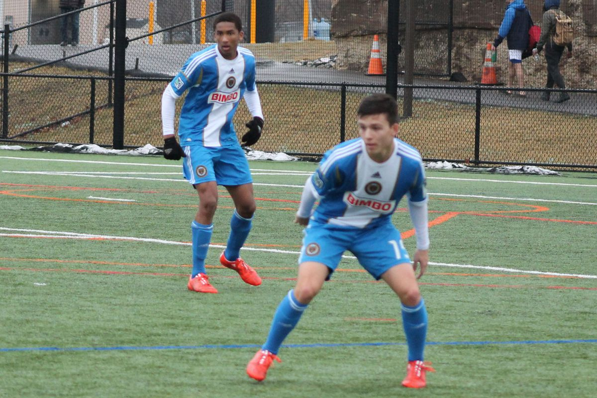 Auston Trusty (left) during his first start with the U-18 team in March