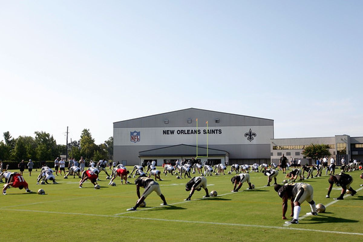 Saints fans won't even see this today, as this afternoon's practice has been closed to the public.