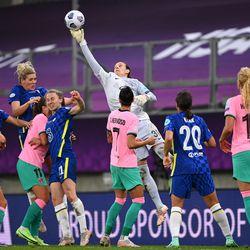 Chelsea goalkeeper Ann-Katrin Berger in action