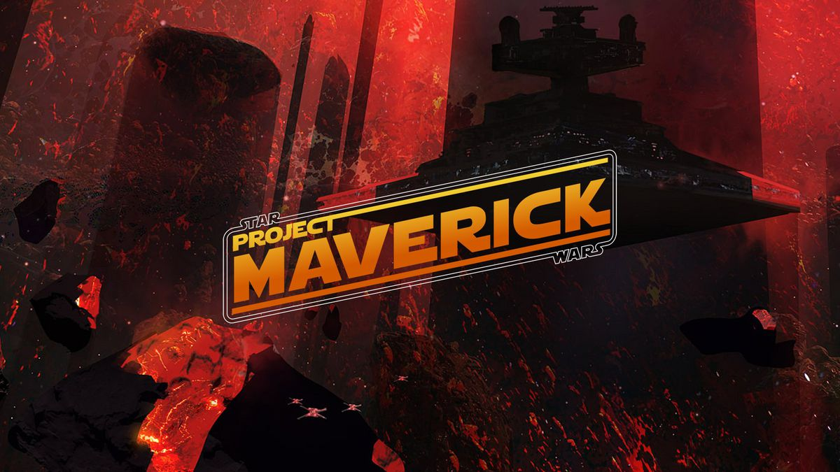 Artwork of an Imperial Star Destroyer and quartet of X-Wing fighters against a background of black rock and lava, with the text Star Wars: Project Maverick.