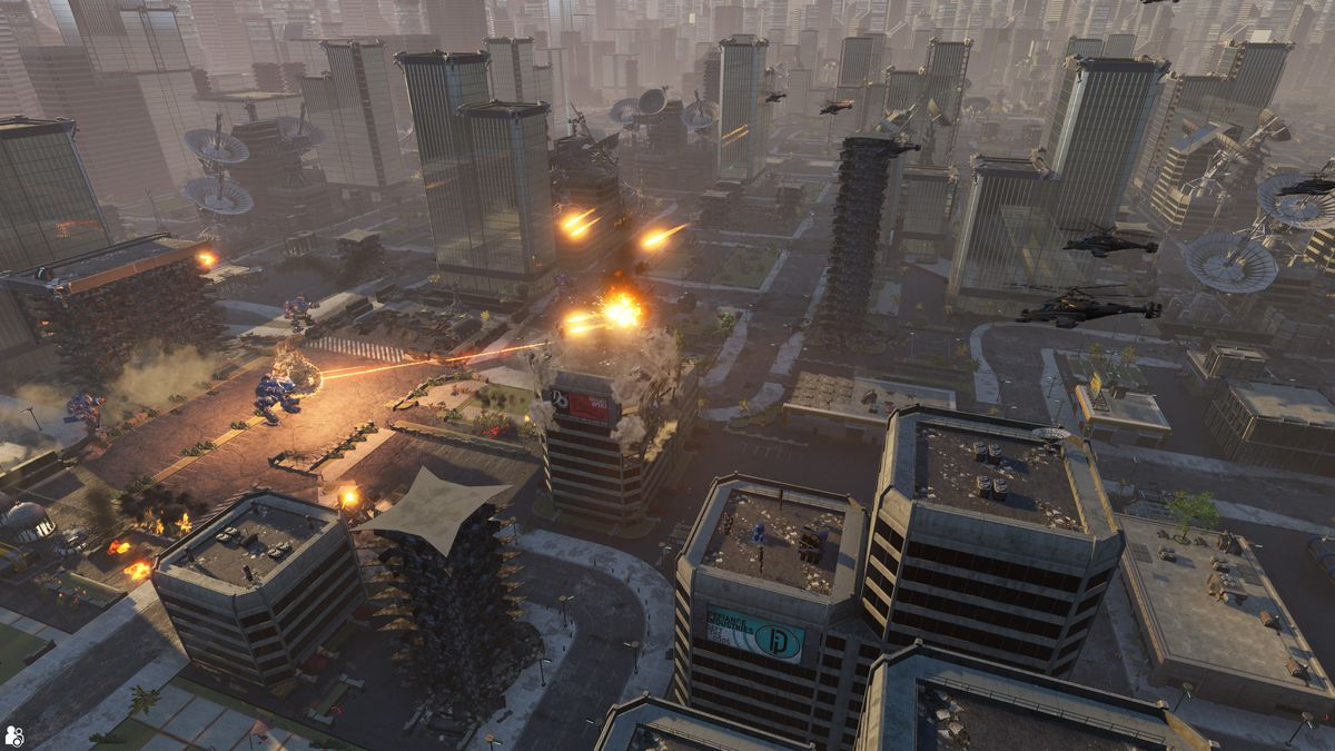 An aerial view of a pitched battle in a large, glistening, futuristic city. The buildings stretch to the horizon.