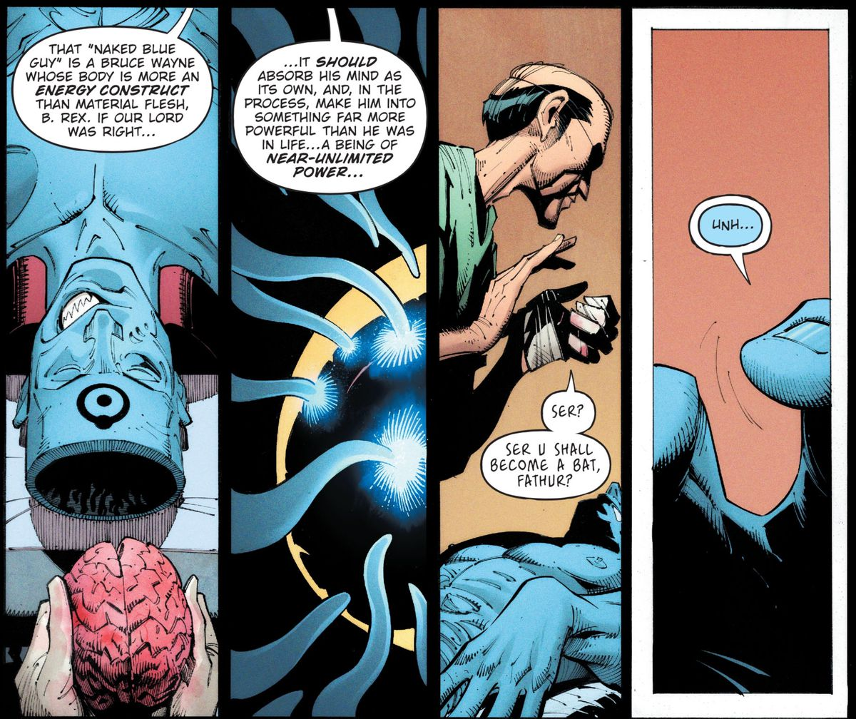 """An evil Alfred places the brain of the Batman Who Laughs into the body of the Bat-Manhattan Who Laughs, a """"Bruce Wayne whose body is more energy construct that material flesh,"""" in Dark Nights: Death Metal, DC Comics (2020)."""