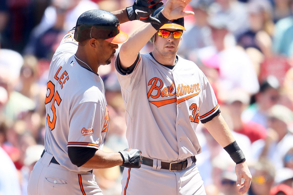 High fives to Matt Wieters for his first All-Star game appearance.  First of many, we hope. (Photo by Elsa/Getty Images)