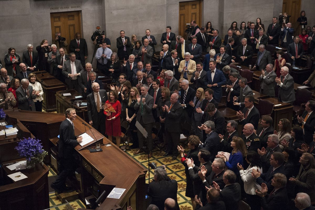 Gov. Bill Haslam receives an ovation during his final State of the State address in January before a joint session of the 110th General Assembly, cabinet members, and guests.