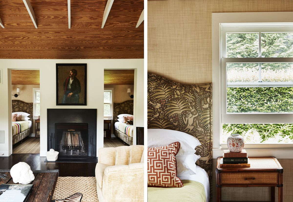 A petite, black-framed fireplace is a new addition. The bedrooms have tan-colored grasscloth on the walls.