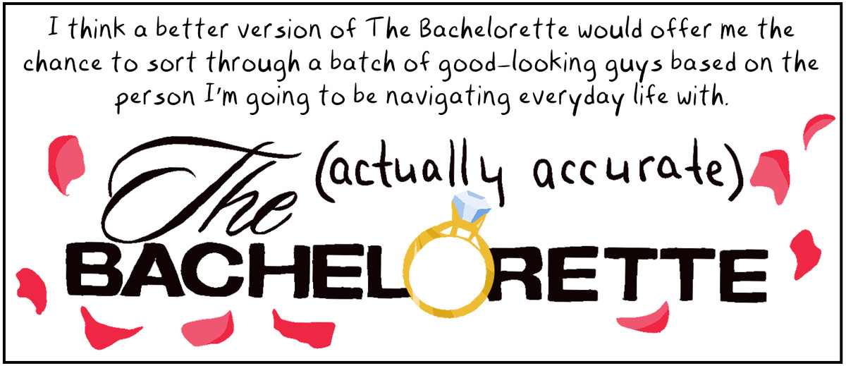 I think a better version of The Bachelorette would offer me the chance to sort through a batch of good-looking guys based on the person I'm going to be navigating everyday life with. (The (actually accurate) Bacherlorette.)