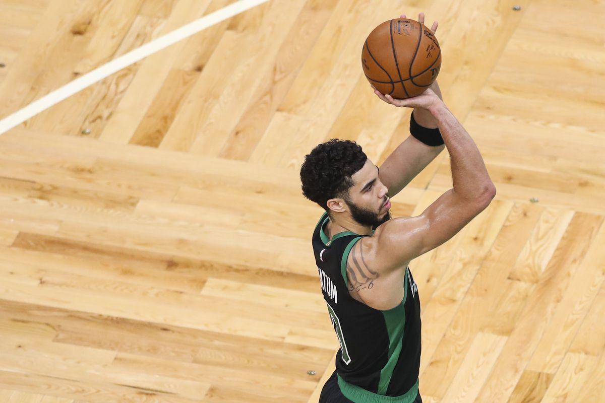 Jayson Tatum #0 of the Boston Celtics shoots a free throw during a game aghast the Charlotte Hornets at TD Garden on April 4, 2021 in Boston, Massachusetts.