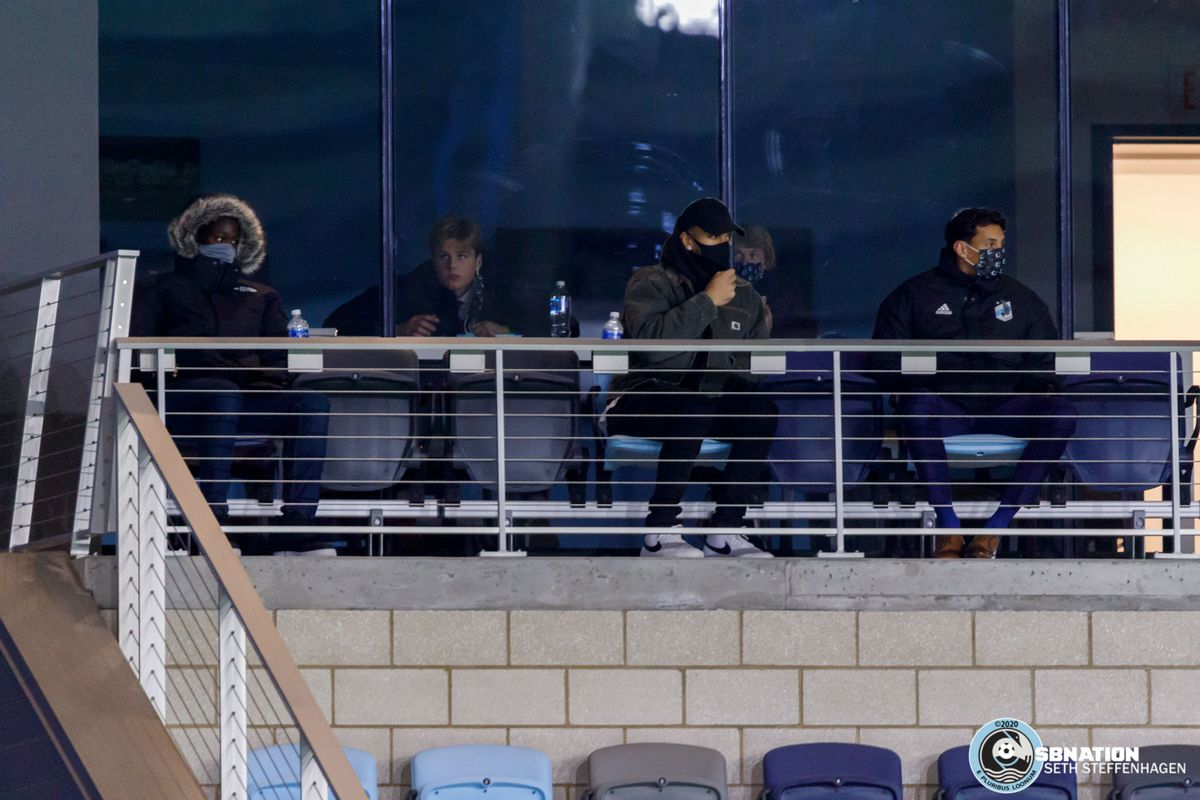 October 18, 2020 - Saint Paul, Minnesota, United States - Minnesota United players  Ike Opara, Fred Emmings, Gregory Ranjitsingh and Thomás Chacón watch from the stands during the Minnesota United vs Houston Dynamo match at Allianz Field.