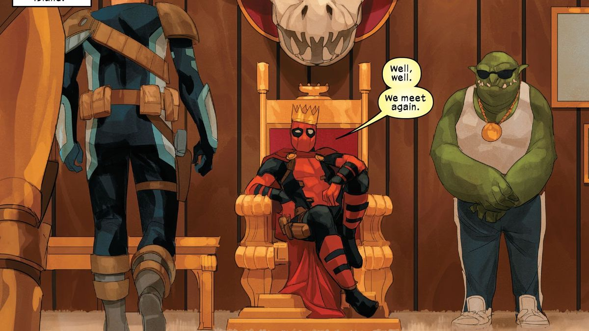 """Deadpool sits on his throne as the king of Staten Island, flanked by a goblin guy in a wifebeater, as Teen Cable approaches. """"Well, well. We meet again,"""" says Deadpool. Cable #3, Marvel Comics (2020)."""