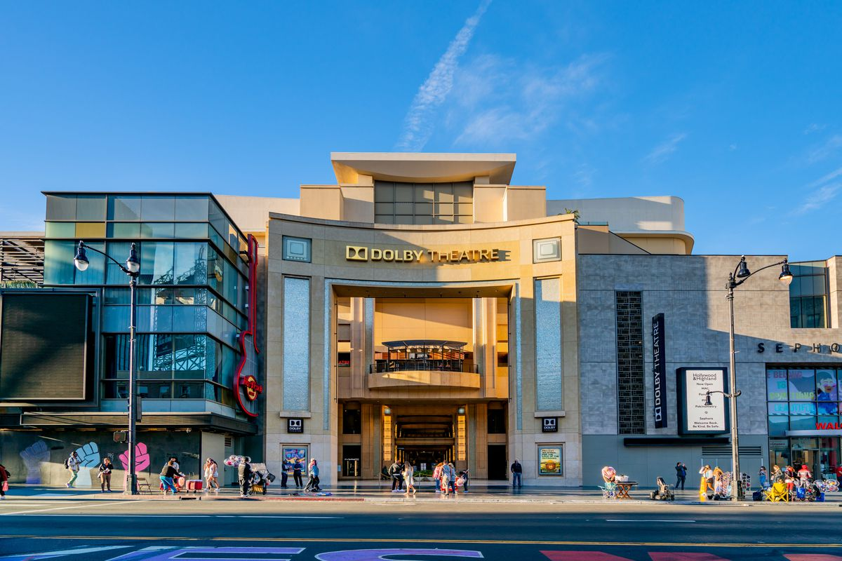 A general view of the Dolby Theatre, home of the Oscars on Hollywood Blvd on March 19, 2021 in Hollywood, California.