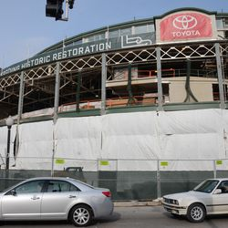 1:22 p.m. The front of the ballpark -