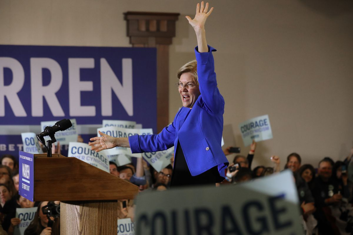 Democratic presidential candidate Sen. Elizabeth Warren (D-MA) addresses her supporters during a caucus night rally at the Forte Banquet and Conference Center February 03, 2020 in Des Moines, Iowa. Iowa is the first contest in the 2020 presidential nominating process with the candidates then moving on to New Hampshire.