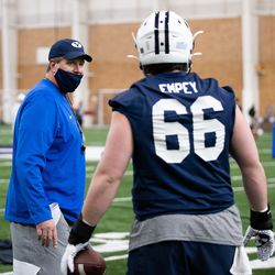 New BYU BYU offensive line coach Darrell Funk coaches during 2021 spring camp in Provo, Utah.