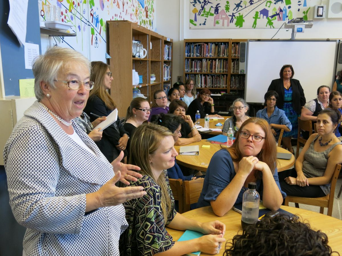 """Chancellor Carmen Fariña told the staff at P.S. 295 on Monday that the best training is """"teacher-to-teacher."""""""