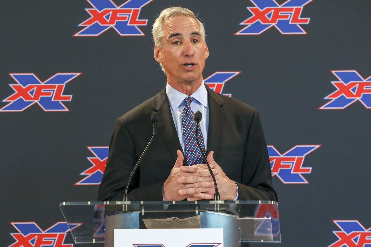 XFL Commissioner and CEO Oliver Luck speaks at a news conference last year. The league filed for bankruptcy on Monday.
