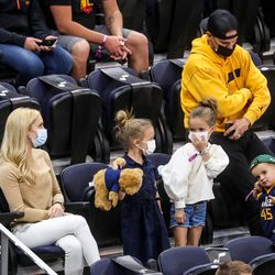 Fans dance as the Utah Jazz and the Toronto Raptors play an NBA basketball game at Vivint Smart Home Arena in Salt Lake City on Saturday, May 1, 2021.