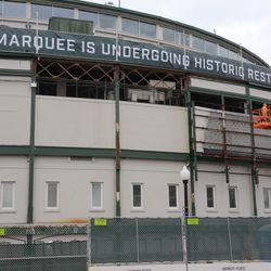 1:25 p.m. The front of the ballpark, with some of the panels now removed -