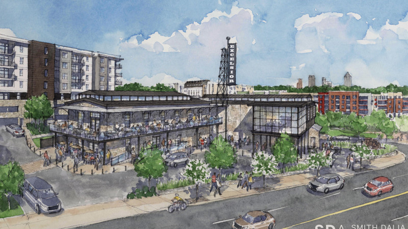 A rendering of the mill's proposed $60 million renovation, billed as North + Line.
