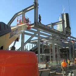 Wider view of steel work in right field -