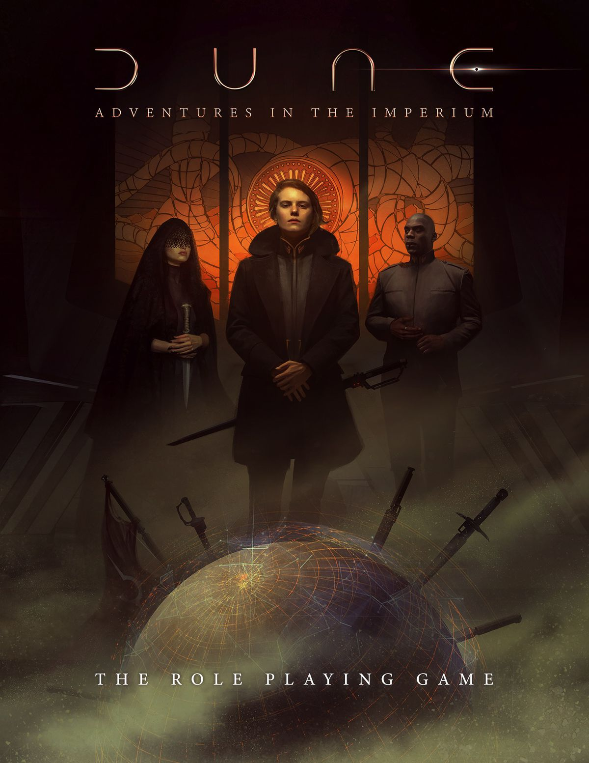Three nobles stand near a holographic image of Dune, run through with multiple swords.