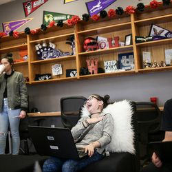 Maya Devries, 12, center, and Arturo Martinez, 13, right, hang out and study with other students in the Our CASA space at West High School in Salt Lake City on Friday, Feb. 24, 2017. Our CASA spaces are part of an initiative to increase access to higher education for first-generation students and their families on Salt Lake City's west side. The two are part of the Extended Learning Program that allows middle schoolers to take high school courses.