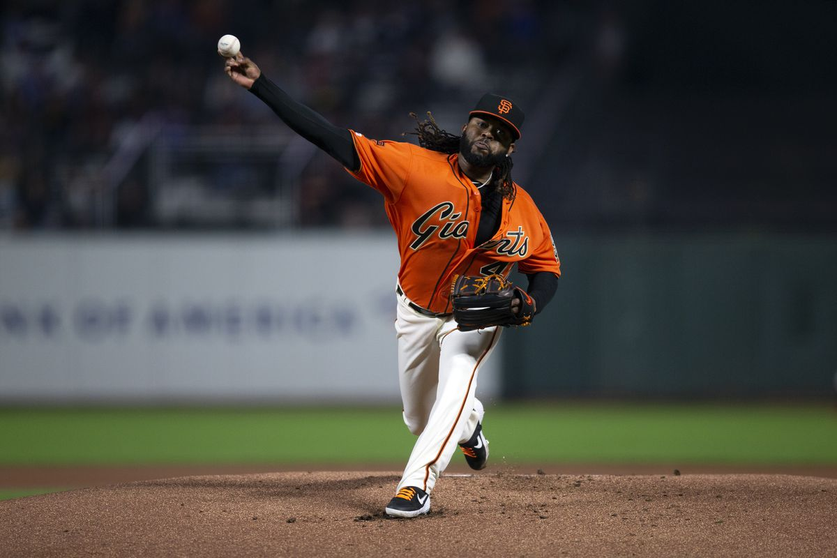 San Francisco Giants starting pitcher Johnny Cueto delivers against the Los Angeles Dodgers during the first inning of a baseball game at Oracle Park.