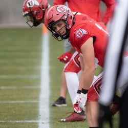 Utah receiver Britain Covey waits for the snap during 2021 spring drills at the University of Utah in Salt Lake City.