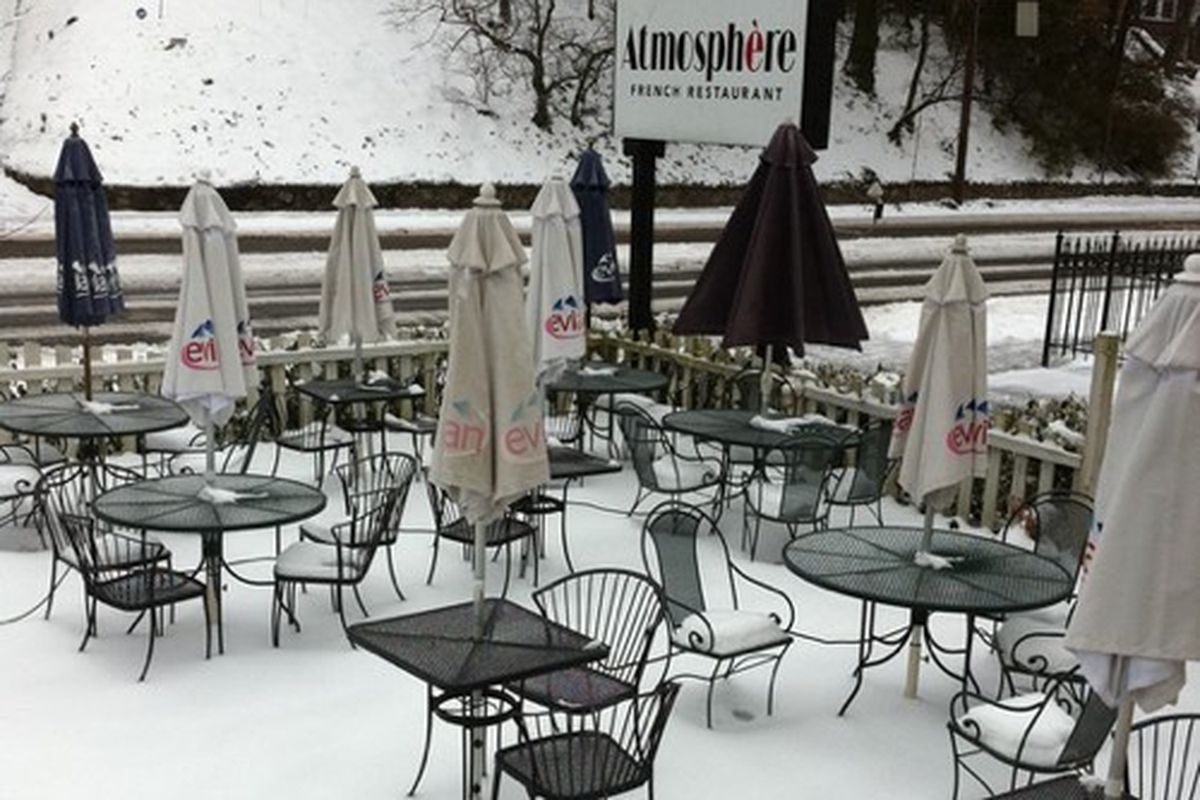 The patio at Atmosphere last winter.