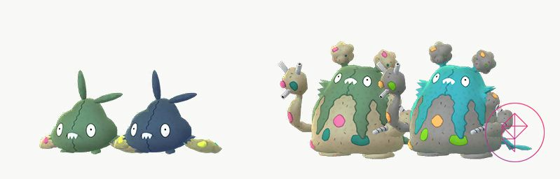Shiny Trubbish and Garbodor with their regular forms. Shiny Trubbish is more of a dark teal with yellow bits in its arms. Garbodor is more teal with orange and lime green trash bits.