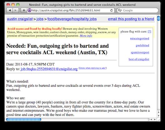 Craigslist Ad Seeks Ladies To Serve Drinks To Group Of Dudes Eater Austin