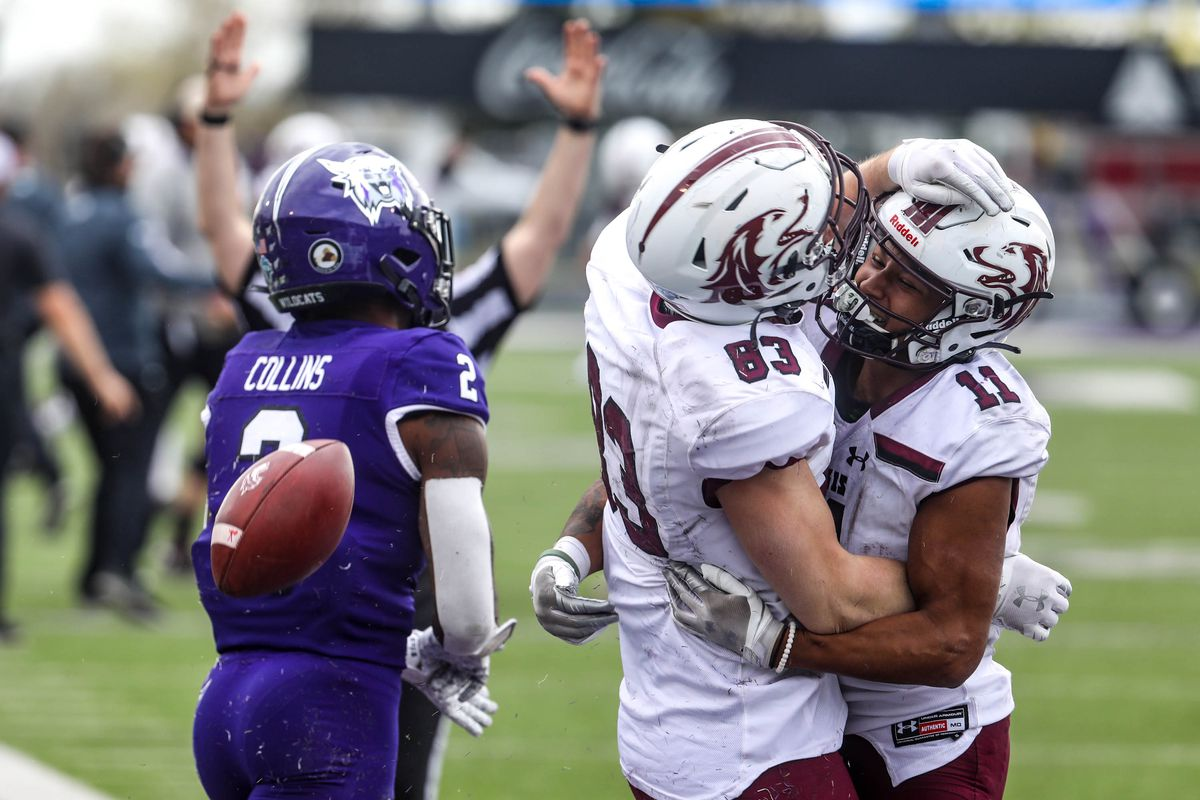 Souther Illinois Saluki wide receiver Branson Combs (83) celebrates his winning touchdown at Stewart Stadium in Ogden on Saturday, April 24, 2021.