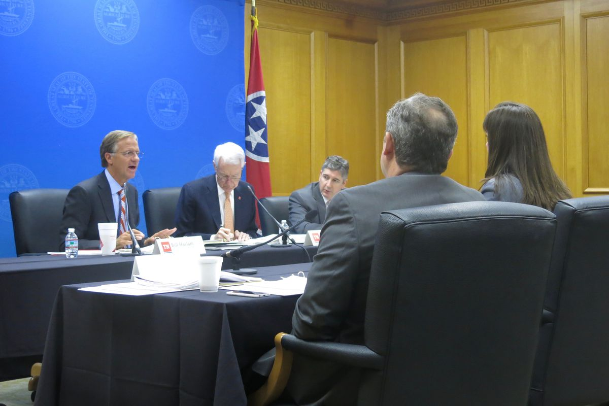 Gov. Bill Haslam asks questions of leaders with the State Department of Education during budget hearings on Tuesday.