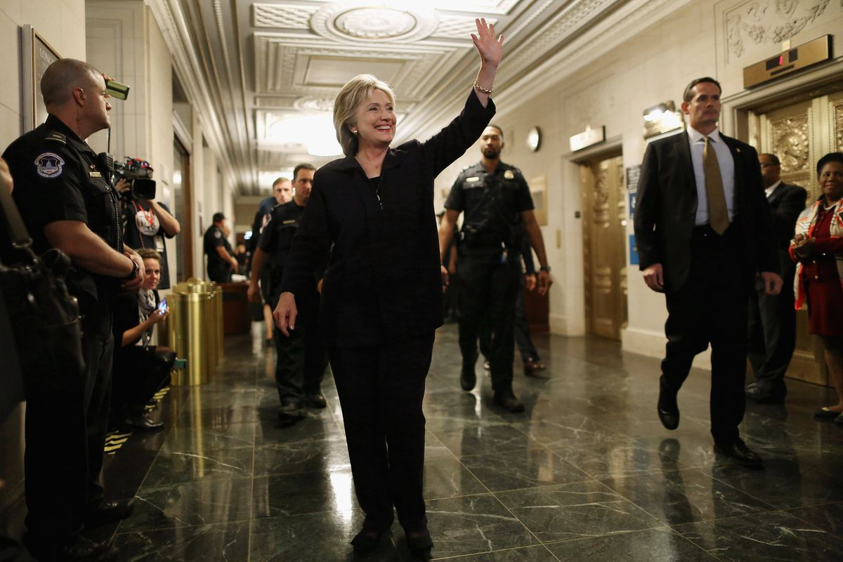 For someone who just spent 11 hours in front of an investigative committee, Hillary Clinton sure looks happy.