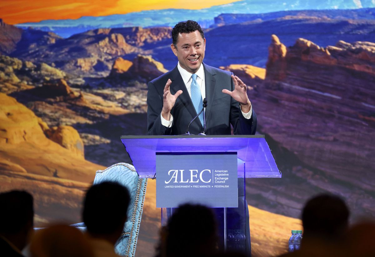 Former Utah Rep. Jason Chaffetz speaks during the American Legislative Exchange Council (ALEC) conference at the Grand America Hotel in Salt Lake City on Friday, July 30, 2021.