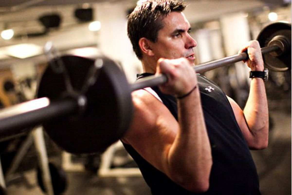 """Todd English pumping iron. (Photo: <a href=""""http://www.nytimes.com/2011/06/01/dining/todd-english-the-chef-in-motion.html?ref=dining&amp;pagewanted=all"""" rel=""""nofollow"""">Piotr Redinski/New York Times</a>)"""
