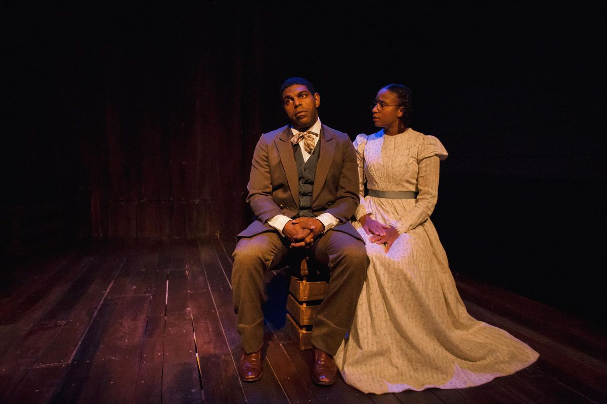 """Breon Arzell is Rutherford Calhoun and Naime Hebrail Kidjo is Isadora in the Pegasus Theatre Chicago production of """"Rutherford's Travels."""" (Photo: Joe Mazza/Brave Lux)"""