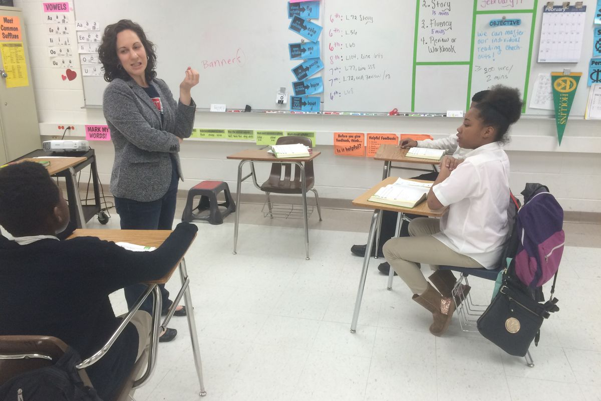 Emily Abeles, a reading intervention specialist at Westside Achievement Middle School in Memphis, teaches one of her small groups. Abeles is an alumna of the city's first Teach For America cohort.