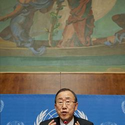United Nations Secretary-General Ban Ki-moon speaks about the situation in Syria during a press conference at the European headquarters of the United Nations in Geneva, Switzerland, Thursday, April 12, 2012.