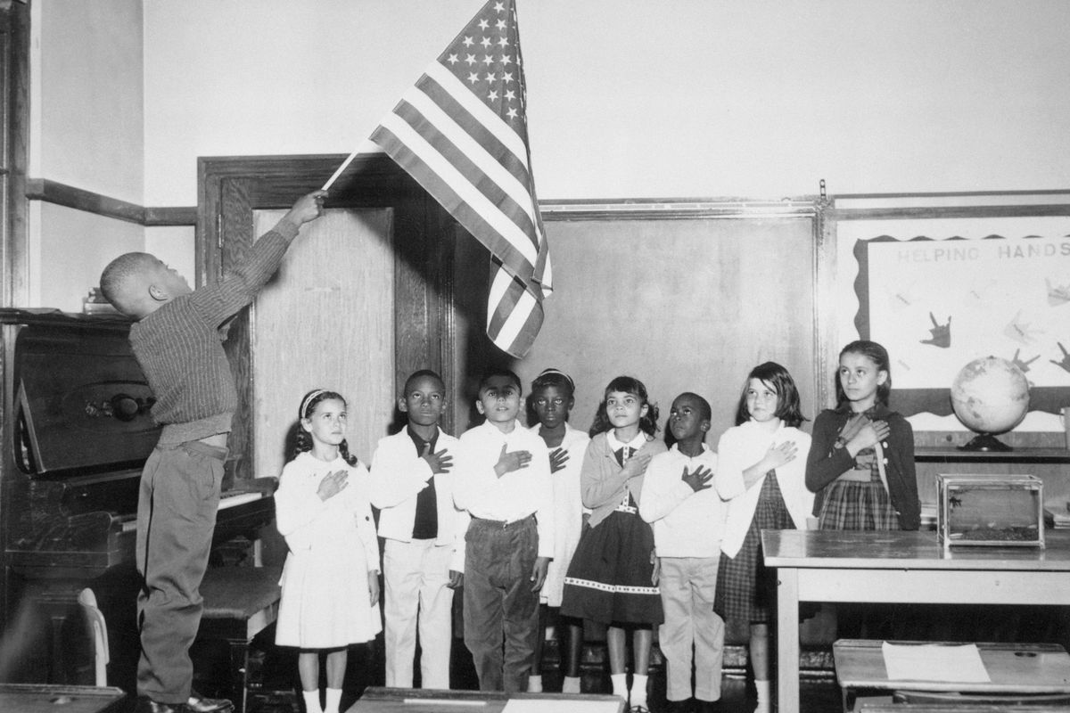 """A third grade class recites the """"Pledge of Allegiance"""" at Franklin Elementary School, which is now Franklin Fine Arts Academy, in September 1963"""