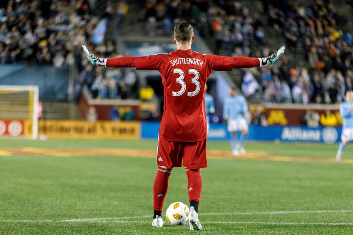 September 29, 2018 - Minneapolis, Minnesota, United States - Minnesota United goalkeeper Bobby Shuttleworth (33) slows things down before kicking the ball back into play during the first half of the Minnesota United vs New York City FC match at TCF Bank Stadium.   (Photo by Seth Steffenhagen/Steffenhagen Photography)