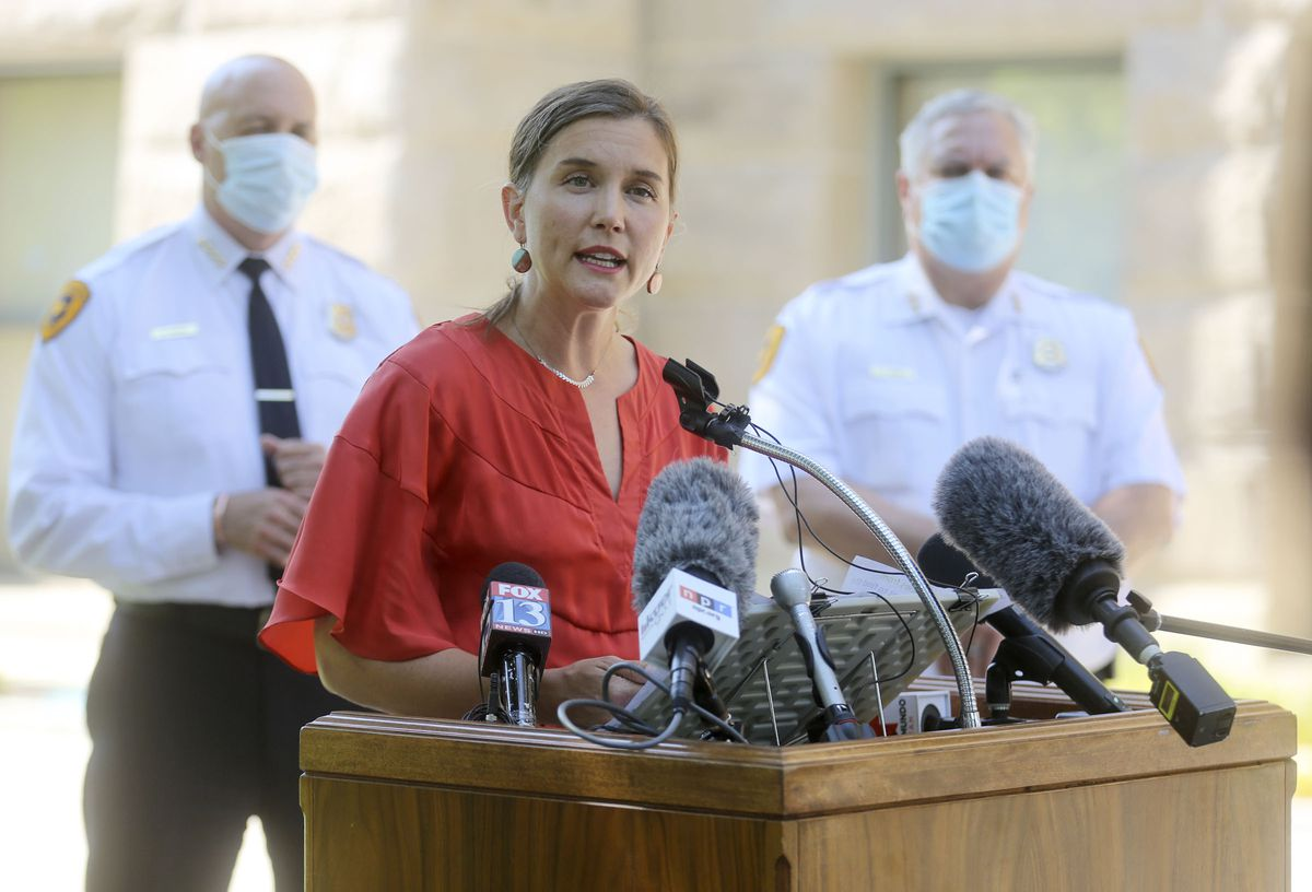 Salt Lake City Mayor Erin Mendenhall talks about updates to the city's police policies — including de-escalation efforts, use of force, body cameras and consent to search — during a press conference outside of the City-County Building in Salt Lake City on Monday, Aug. 3, 2020.